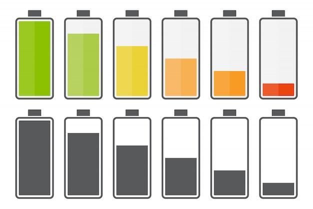 Grote set van pictogrammen voor het opladen van de batterij Premium Vector