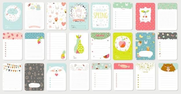 Grote set van romantische en leuke kaarten, notities, stickers, etiketten, tags met lente illustraties en wensen. sjabloon voor schrootboeking, gefeliciteerd, uitnodigingen. verticaal kaartontwerp Premium Vector