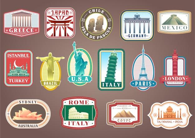 Grote set van vector reizende stickers met beroemde bezienswaardigheden van de wereld Premium Vector