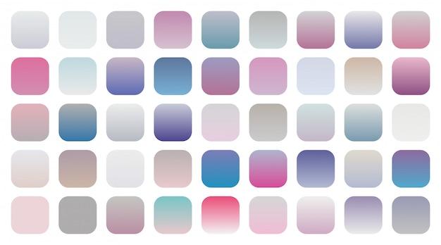 Grote set zachte kleurovergangen combinaties stalen Gratis Vector