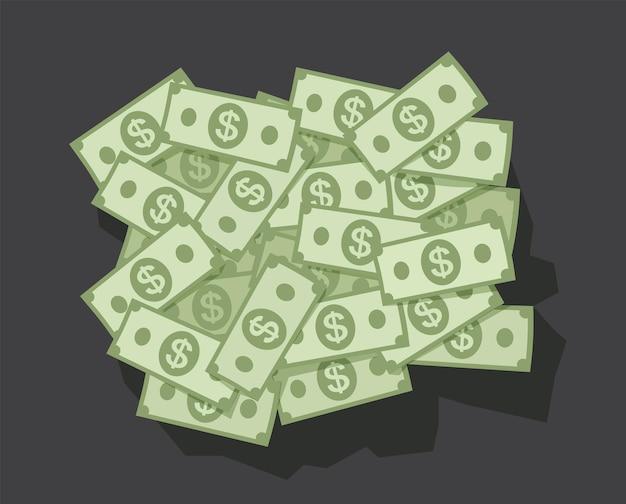 Grote stapel geld dollar op donkere achtergrond Premium Vector