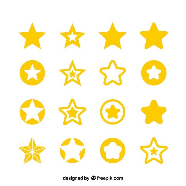 Grote sterren set Gratis Vector