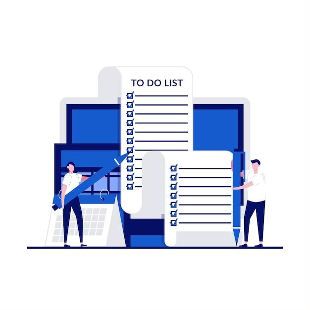 Grote taak documentconcept met karakter. mensen uit het bedrijfsleven staan lang om lijst te doen. Premium Vector
