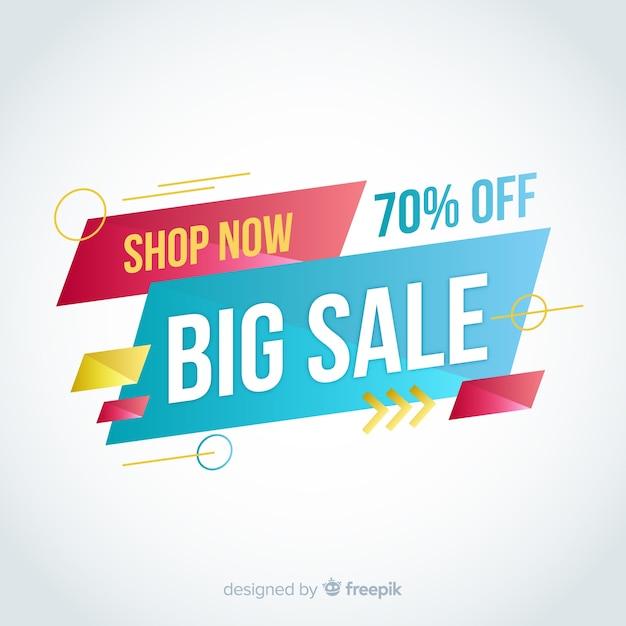 Grote verkoop abstracte banner Gratis Vector