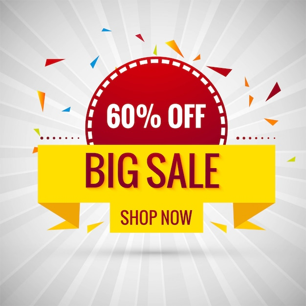 Grote verkoop banner kleurrijke ontwerp illustratie Gratis Vector