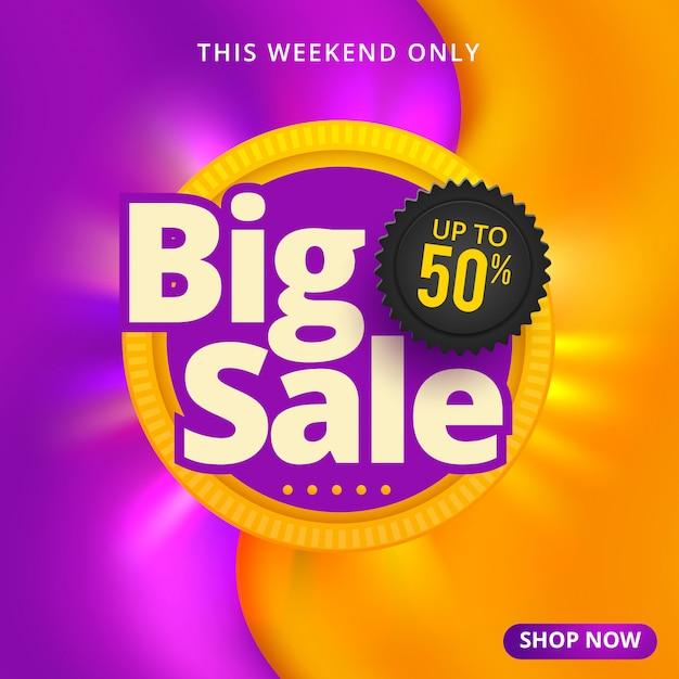 Grote verkoop banner sjabloonontwerp Premium Vector