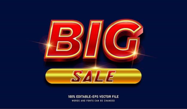 Grote verkoop gouden metalen teksteffect sjabloon Premium Vector