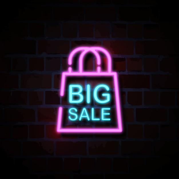 Grote verkoop met zak pictogram neon stijl teken illustratie Premium Vector