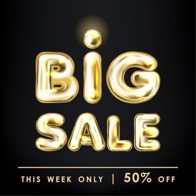 Grote verkoop zwarte banner met gouden ballon belettering Premium Vector