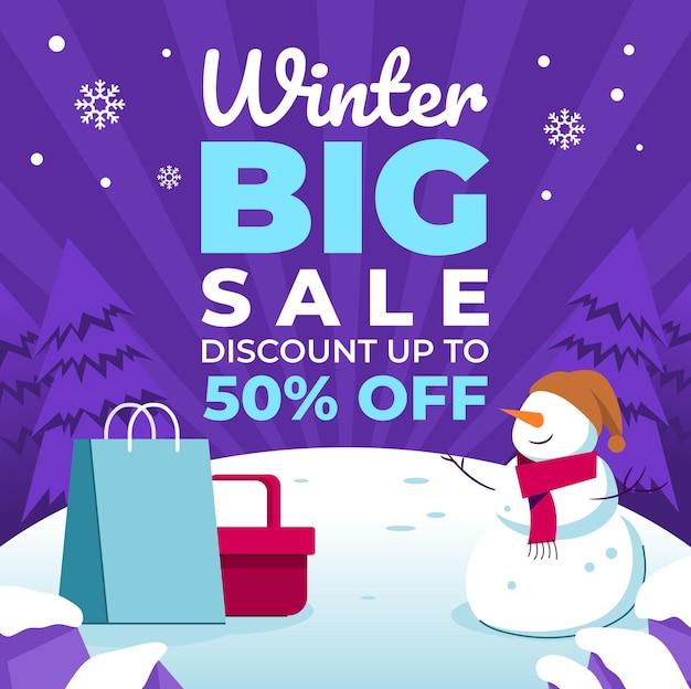Grote verkoopposters voor winterevenementen Premium Vector