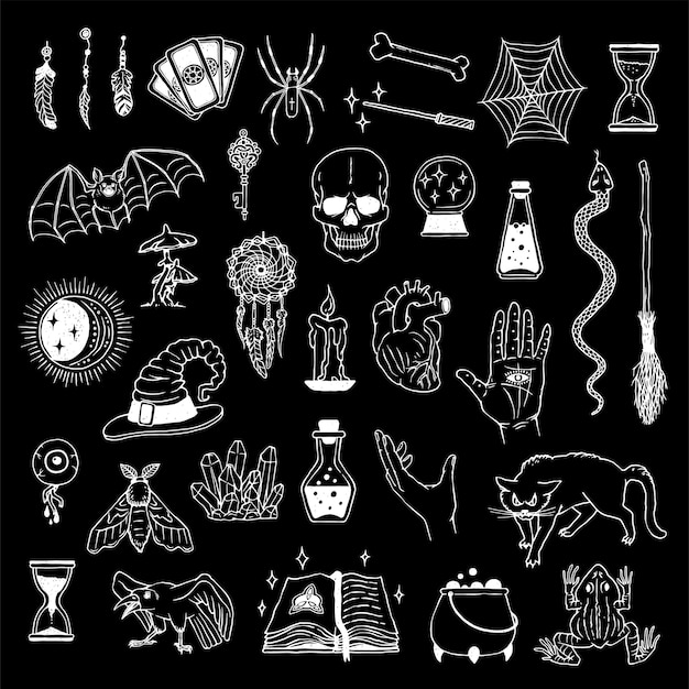 Grote verzameling mystieke, occulte en mysterieuze elementen. astrologische hekserij set, handlijnkunde en alchemie. Premium Vector