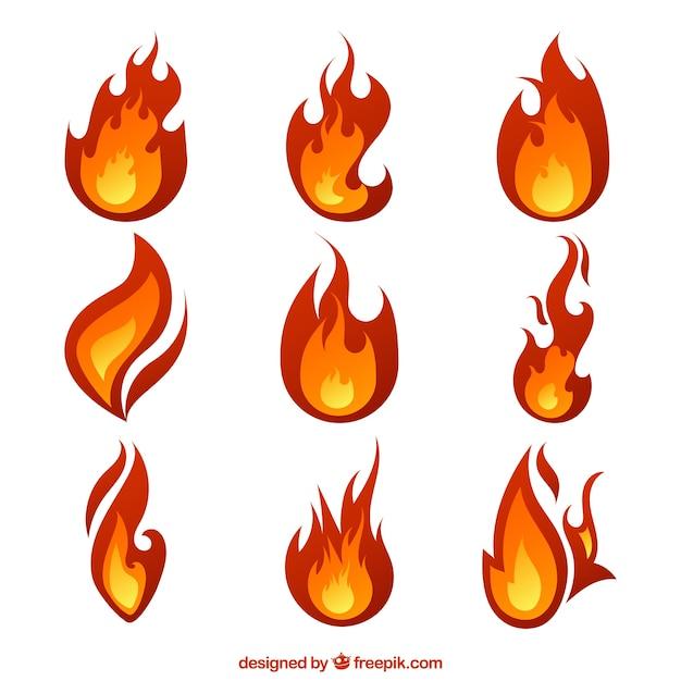 Grote vlammen met verschillende ontwerpen Gratis Vector