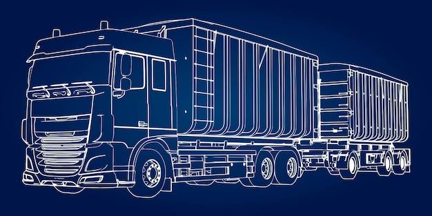 Grote vrachtwagen met aanhangwagen isometrische illustratie Premium Vector