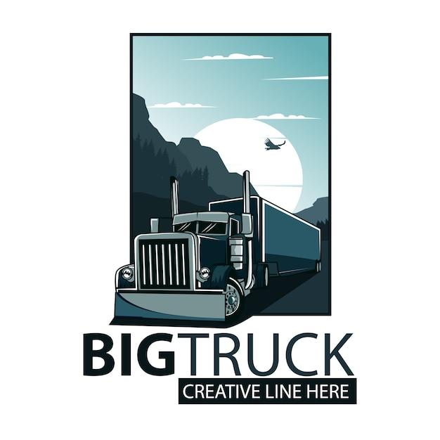 Grote vrachtwagen poster Premium Vector