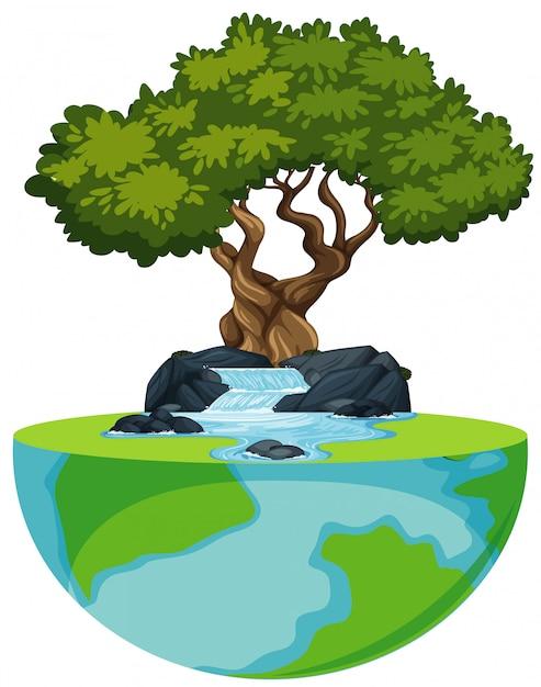 Grote wereld met waterval en grote boom Gratis Vector