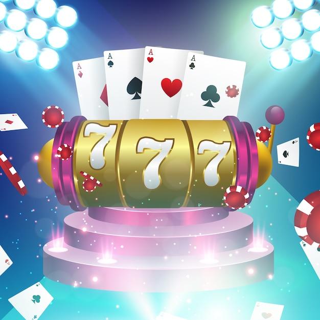 Grote win slots 777 banner casino Premium Vector