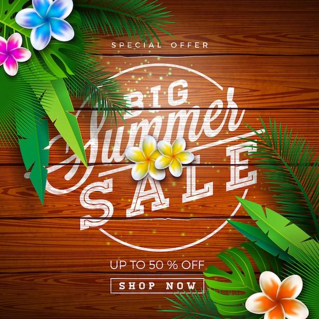 Grote zomer verkoop ontwerp met exotische palmbladeren en typografie brief op vintage houten achtergrond. tropische speciale aanbieding illustratie Premium Vector