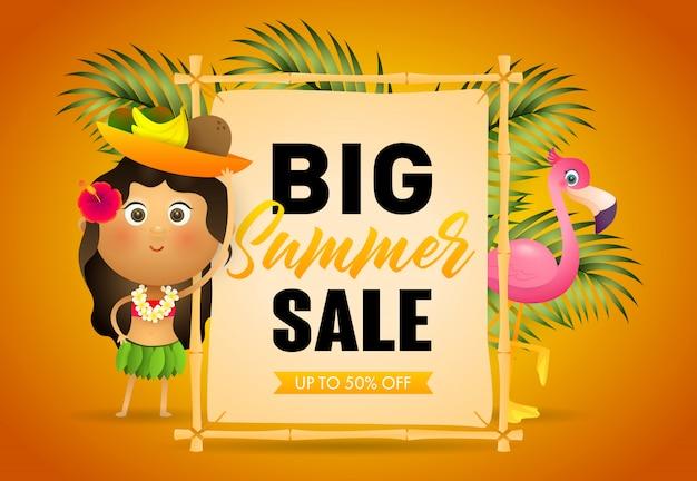 Grote zomer verkoop retail poster. uithangbord Gratis Vector
