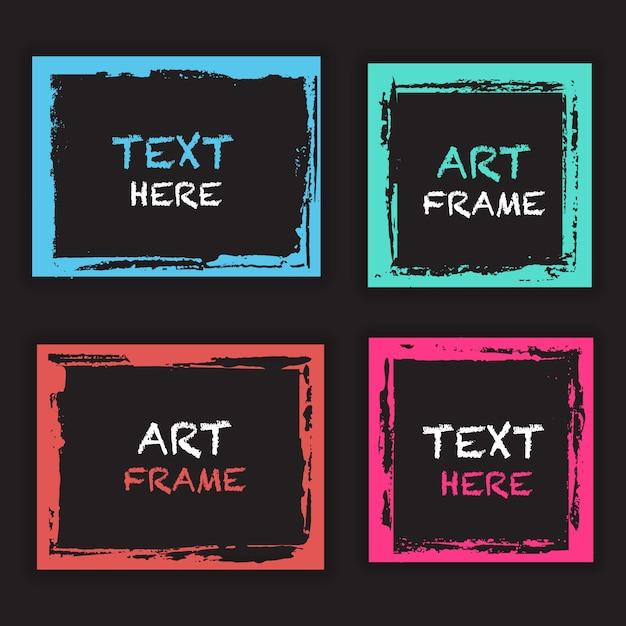 grunge frame sjabloonverzameling Gratis Vector