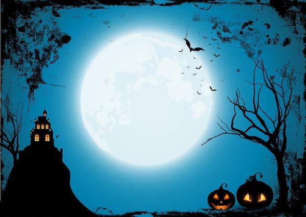 Grunge halloween-achtergrond met pompoenen en s griezelig kasteel Gratis Vector
