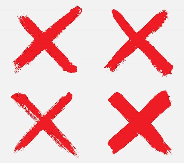 Grunge hand getekend x teken Premium Vector