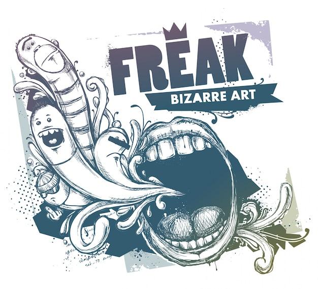Grunge illustratie met karakters en mond Gratis Vector