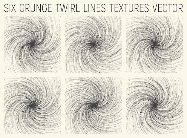 Grunge kronkel lijnen texturen set Premium Vector