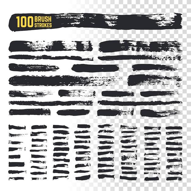 Grunge penseel zwarte aquarel strepen met getextureerde randen. 100 ruwe inkt uit de vrije hand penselen vector-collectie. grunge slag inkt verf illustratie Premium Vector