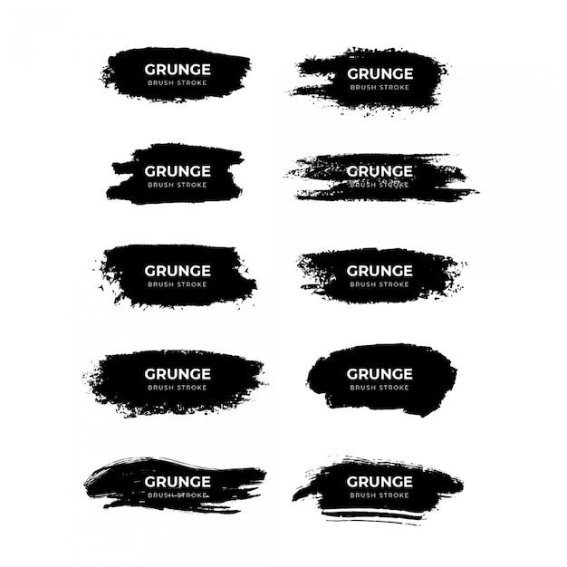 Grunge penseelstreek collectie Premium Vector