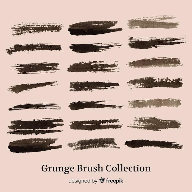 Grunge penseelstreek collectie Gratis Vector