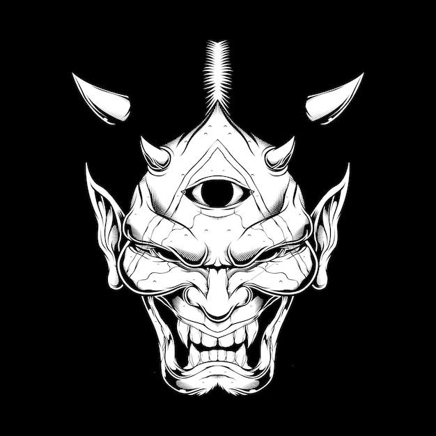 Grunge stijl cartoon demon gezicht satan of lucifer met hoorns Premium Vector