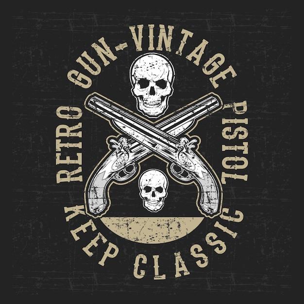 Grunge stijl pistool en schedel illustratie Premium Vector