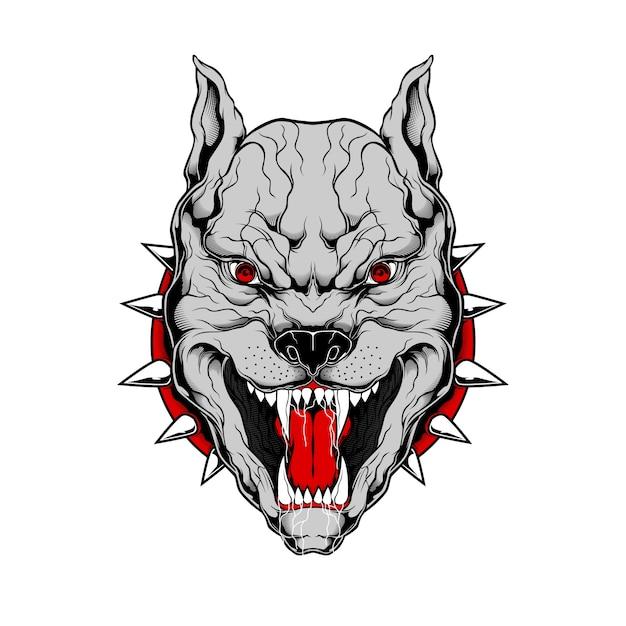 Grunge stijl pit bull hand tekening illustratie Premium Vector