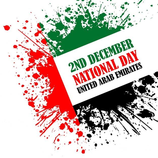 Grunge stijl voor de verenigde arabische emiraten nationale viering van de dag Gratis Vector