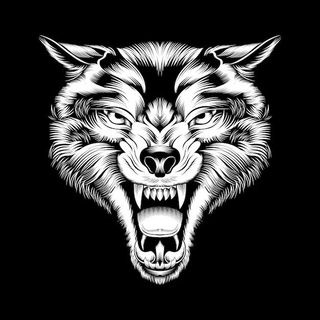 Grunge stijl wolf hand tekenen, geïsoleerd Premium Vector