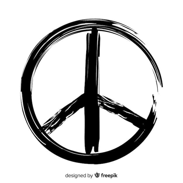 Grunge vredesteken Gratis Vector