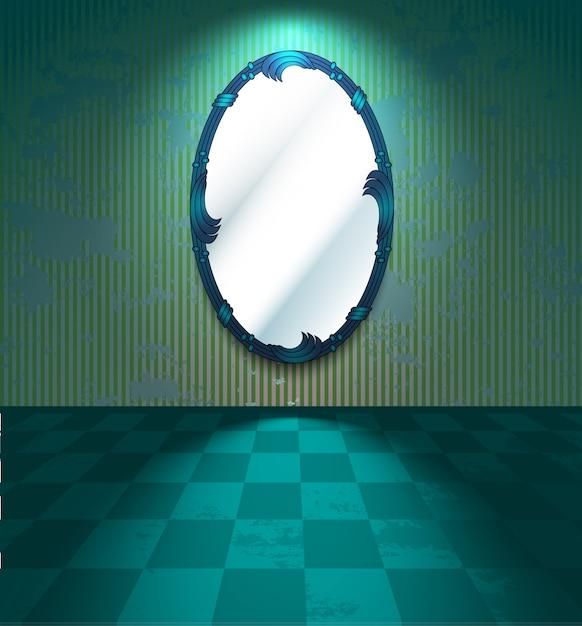 Grungy kamer met spiegel Premium Vector