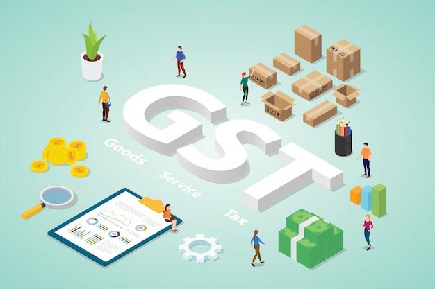 Gst-goederenbelasting met grote woorden en mensenteamzaken met moderne isometrische flat Premium Vector
