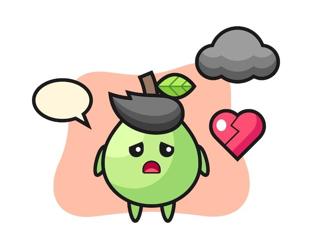 Guava cartoon illustratie is gebroken hart, schattig stijlontwerp voor t-shirt, sticker, logo-element Premium Vector