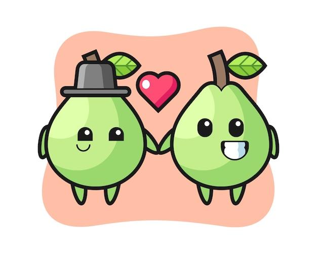 Guava cartoon karakter paar met verliefd gebaar, leuke stijl voor t-shirt, sticker, logo-element Premium Vector