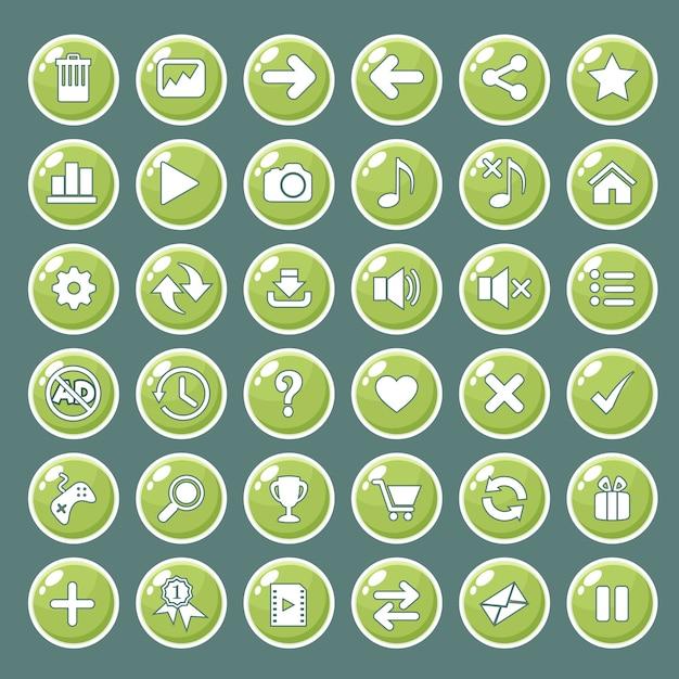 Gui knoppen pictogrammen instellen voor game-interfaces kleur groen. Premium Vector