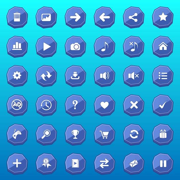 Gui-knoppen platte set design luxe vorm voor games kleur blauw. Premium Vector