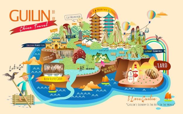 Guilin-reiscollecties met beroemde attracties en specialiteiten Premium Vector