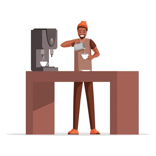 Guy koffie vlakke afbeelding maken. glimlachende koffiearbeider, professionele barista die melk toevoegen aan het karakter van het espressobeeldverhaal. Premium Vector