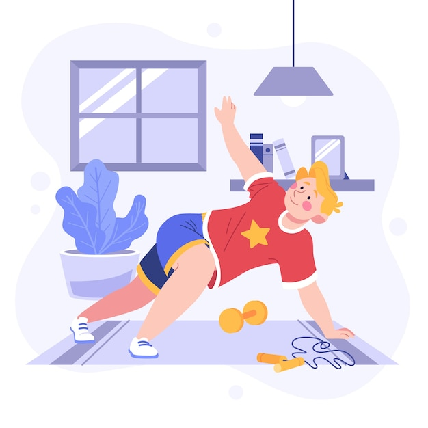 Guy training thuis concept Gratis Vector