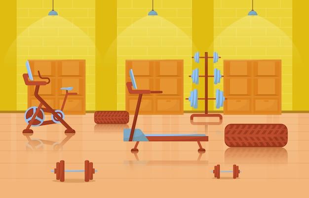 Gym center interieur sport club fitness gewicht bodybuilding apparatuur illustratie Premium Vector