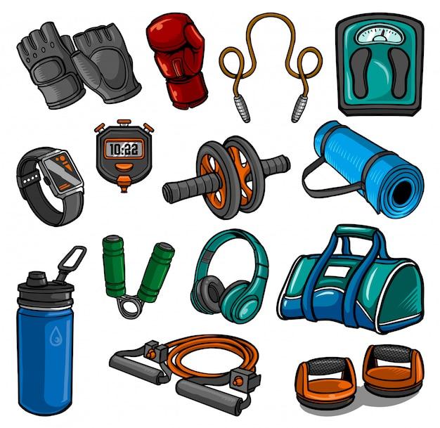 Gym elements collectie Premium Vector