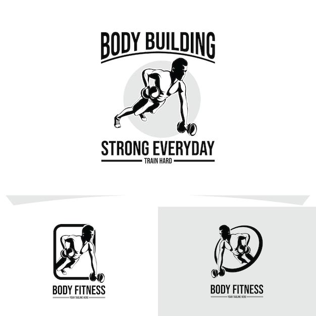 Gym en fitness logo ontwerp illustratie Premium Vector