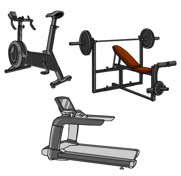 Gym equipment collection Premium Vector