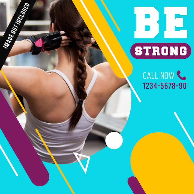Gym fitness banner of berichtsjabloon Premium Vector